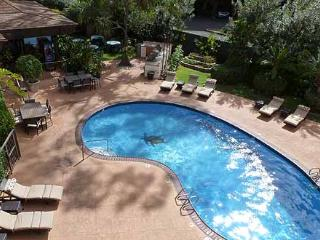 Pool with BBQ area & terraced herb garden, top center