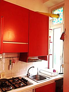 Colorful and fully equipped kitchen corner