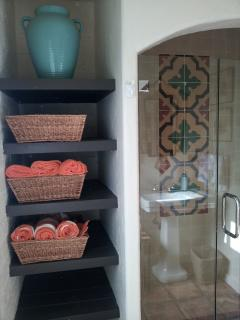 Guest Bathroom with complementary Molton Brown bath products