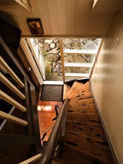 Stairway to sleeping loft