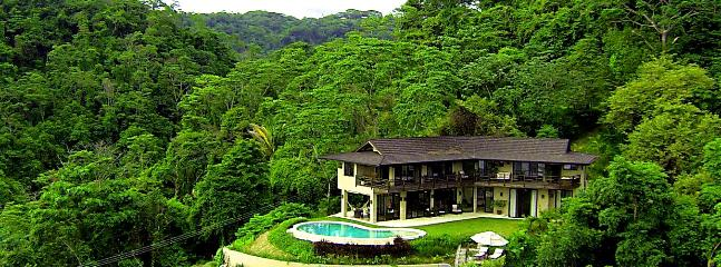 Aerial view of the house and surrounding jungle