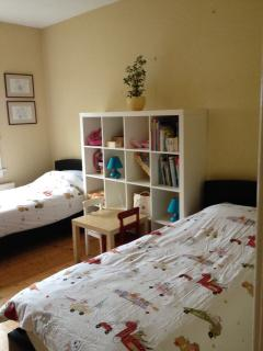Lower twin room - suitable for children but with full sized singles so adults will be comfortable