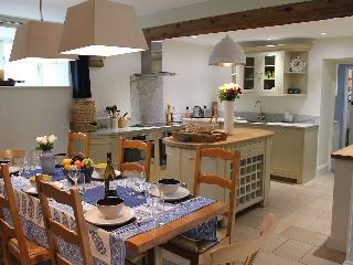 The convivial, open-plan kitchen/dining area