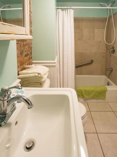 bathroom sink and bathtub with shower
