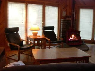 Relax by the fireplace in the great room
