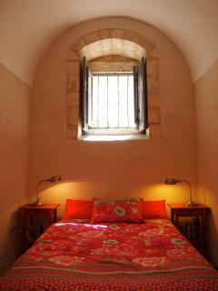 Second bedroom - wooden shutters on windows blocks out ambient light at night.