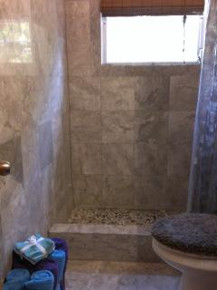 Guest shower in marble and stone