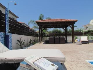 Large terrace with 8 luxury loungers..