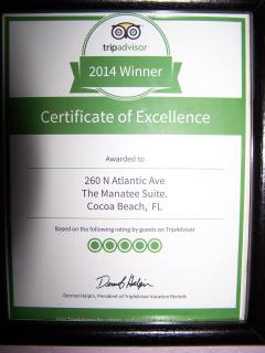 An award for reviews from our guests