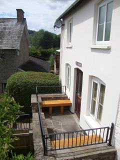 Front seating area - a great sunny place to sit and gaze at the mountains