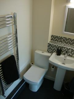 En suite bathroom 2 with Myddfai soap, Christy towels, shower cubicle, heated towel rail, sink & WC