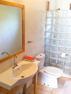 2nd bathroom. Big sink with a big mirror, comes with fresh shower towels