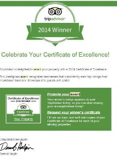 We are honored to receive the Certificate of Excellence 2014