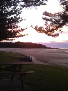 Early morning sun rise at Moonee Beach