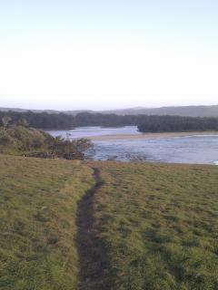 View from the headland back towards the bbq/rest area at Moonee Beach
