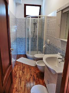 Bathroom with shower bath cabin and waterproof hand made hardwood floors