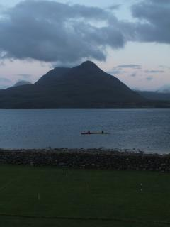 Kayaking on the Loch. Launched from the other side of the garden wall!!