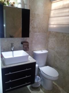Second Bathroom, travertine wall and floors, moderm