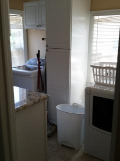 Laundry room with extra large capacity washer and dryer