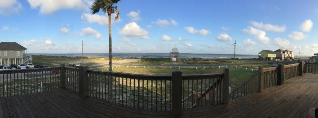 Panoramic View of Crystal Beach from your expansive deck with comfortable seating.