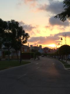 Sun setting on the resort