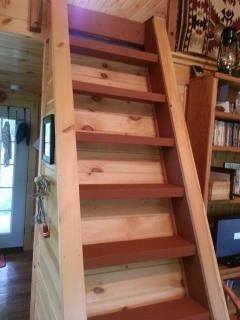 The ladder to the loft has been newly painted.