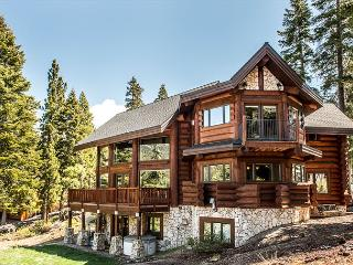 Log Home Masterpiece with Mountain Vistas, Footsteps from Tahoe Wilderness