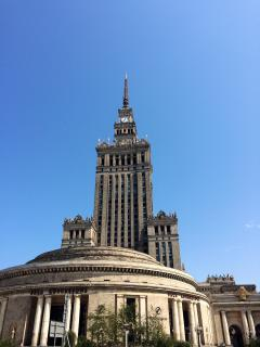 In front of symbol of Warsaw - Palace of Culture