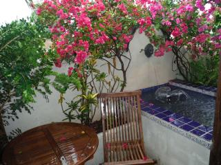 Your terrace has a fountain, bistro table/chairs and lots of tropical flowers!