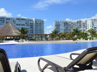 The pool area with Amara complex at the back
