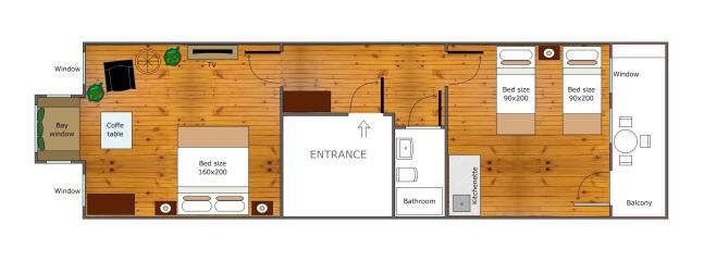 the plan of our apartment - 50 sqm.