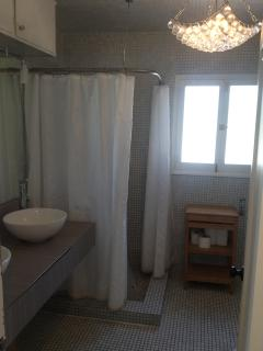 partial view of Bathroom upstairs, this is the Shower