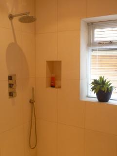 Luxurious limestone wetroom