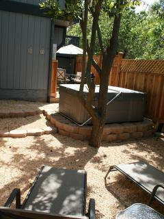 Private yard with spa, lounging and dining areas