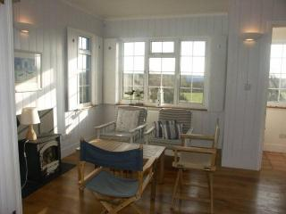 Lower lounge with large window looking towards the sea-wall (100 yards!)
