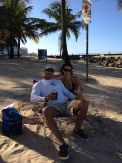 me and my wife at la concha beach which is located at 50 second to 1 minute walking distance