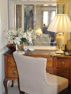 Antique dressing table, writing desk with fresh flowers always in the barn for your stay