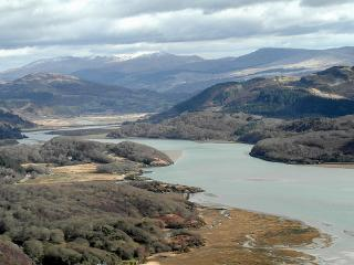 On the Mawddach estuary with views of Cader Idris in Southern Snowdonia Wales UK, Llanelltyd