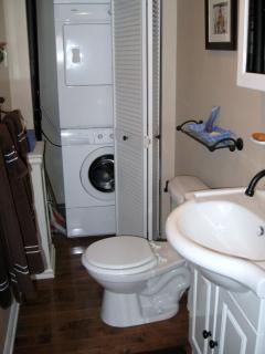 Stackable washer and dryer in bathroom closet