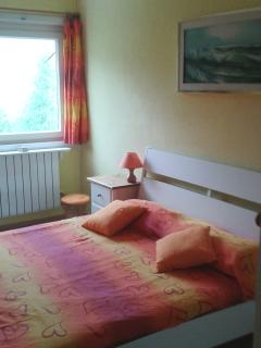 bedroom with double bed and television