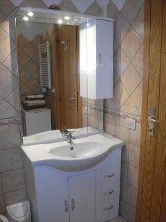 bathroom with shower, bidet and washing machine