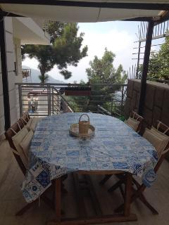 Breakfast balcony and table