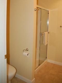 Shower with double sliding door