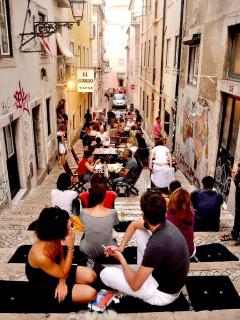 Bairro Alto with trendy restaurants and bars