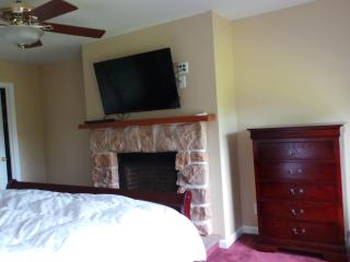master bedroom with LED TV, DVD player  and gas fireplace