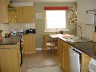 kitchen with window overlooking back garden