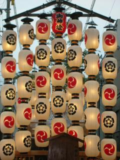 Beautiful lanterns on the float at Gion Festival