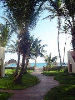 Wall to private beach with full beach service with lounges