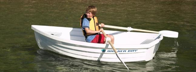 Row boat for lake. Can be sailed as well by addition of the sail