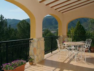 Lounge terrace with spectacular views of mountains and village